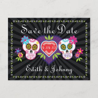 Sugar Skulls and Flowers Save the Date Announcement Postcard