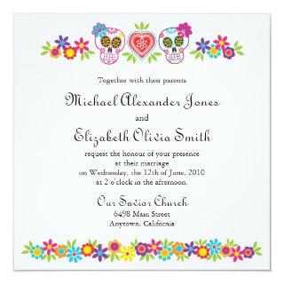 Sugar Skulls and Flowers Wedding Invitations