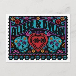 Sugar Skulls Papel Picado Style Save the Date Announcement Postcard