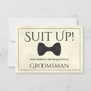 Suit Up Be My Groomsman Marbled Ivory or Cream Card
