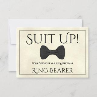 Suit Up Be My Ring Bearer Marbled Ivory Card