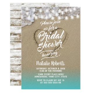 Summer Beach Heart Rustic Bridal Shower Invitations