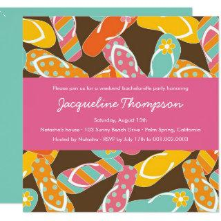 Summer Colorful Flip Flops Chic Bachelorette Party Invitations