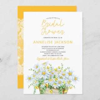 Summer daisies yellow and white lace bridal shower Invitations