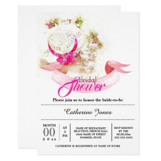 Summer floral hat tuscan bridal shower Invitations