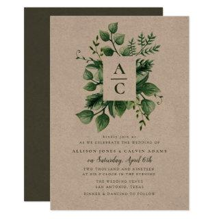 Summer foliage kraft wedding invitation