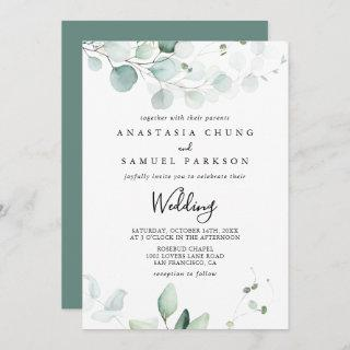 Summer Green Eucalyptus Front & Back Wedding Invitations