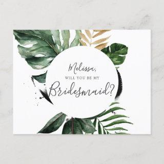Summer Greenery Will You Be My Bridesmaid Invitations Postcard