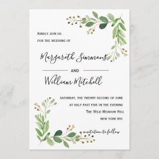 Summer meadow leaves Watercolor Wedding invitation