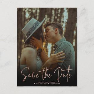 Summer rose gold save the date upload your photo announcement postcard