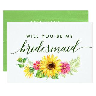 Summer Sunflower Will You Be My Bridesmaid Invitations