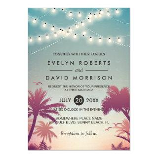 Summer Sunset Palms String Lights Outdoor Wedding Invitations
