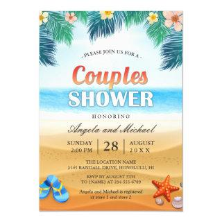 Summer Tropical Beach Couples Wedding Shower Invitations
