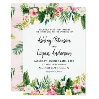 Summer Tropical Leaves Wedding Invitation Card