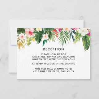 Summer Tropical Leaves Wedding Reception Cards