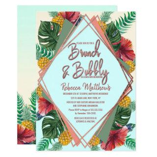 Summer Tropical Pineapple Floral Brunch and Bubbly Invitations