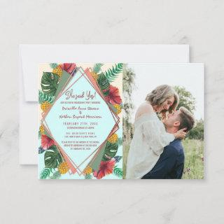Summer Tropical Pineapple Leaves Floral Wedding Announcement