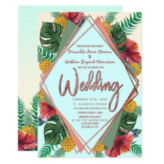 Summer Tropical Pineapple Leaves Floral Wedding Invitations