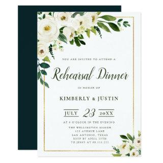 Summer white florals rehearsal dinner Invitations