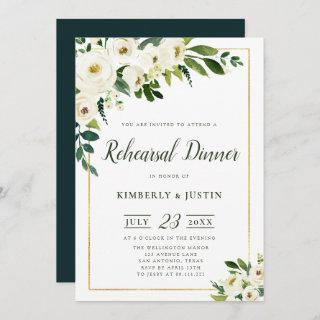 Summer white florals rehearsal dinner invitation
