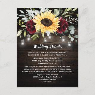 Sunflower and Burgundy Red Rose Rustic Wedding Enclosure Card