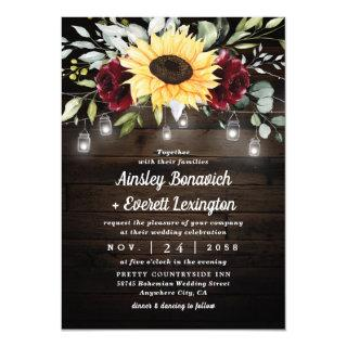 Sunflower and Burgundy Red Rose Rustic Wedding Invitations