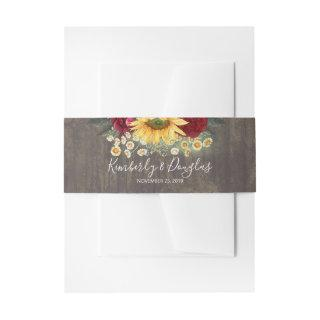 Sunflower and Burgundy Red Roses Rustic Fall Invitations Belly Band
