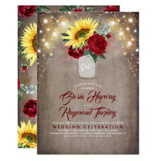 Sunflower and Burgundy Rose Mason Jar Fall Wedding Invitations