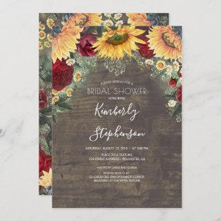 Sunflower and Burgundy Rose Rustic Bridal Shower Invitations