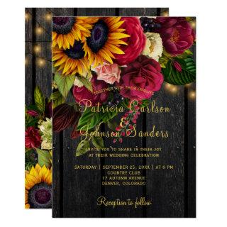 Sunflower and burgundy roses rustic fall wedding Invitations
