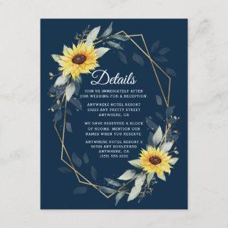 Sunflower and Navy Blue Geometric Rustic Wedding Enclosure Card