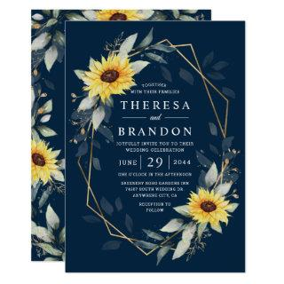 Sunflower and Navy Blue Geometric Rustic Wedding Invitations