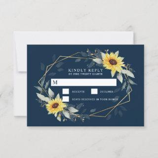 Sunflower and Navy Blue Geometric Rustic Wedding RSVP Card