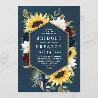 Sunflower and Navy Blue Magnolia Burgundy Wedding Invitation