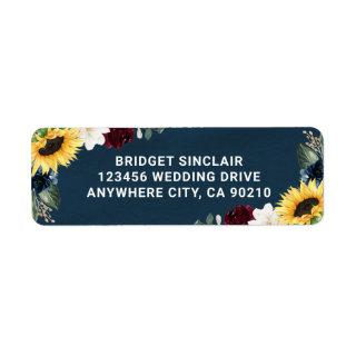 Sunflower and Navy Blue Magnolia Burgundy Wedding Label