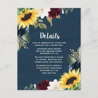 Sunflower and Navy Blue Watercolor Rustic Wedding Enclosure Card