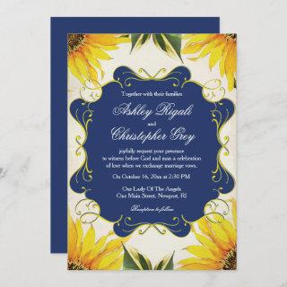 Sunflower and Navy Blue Wedding Invitation