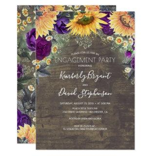 Sunflower and Purple Rose Rustic Engagement Party Invitations