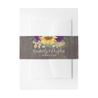 Sunflower and Purple Roses Rustic Fall  Belly Band