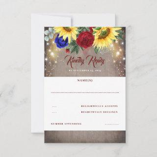 Sunflower and Red Blue Rose Fall Wedding RSVP