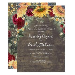 Sunflower and Red Rose Rustic Engagement Party Invitation