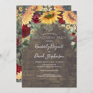 Sunflower and Red Rose Rustic Engagement Party