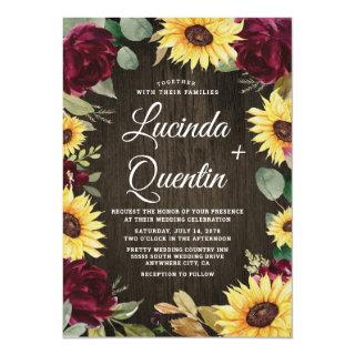 Sunflower and Red Roses Rustic Barn Wood Wedding Invitations