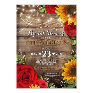 Sunflower and Rose Rustic Bridal Shower Invitations