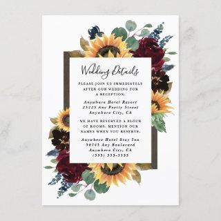 Sunflower and Roses Burgundy Red Navy Blue Wedding Enclosure Card
