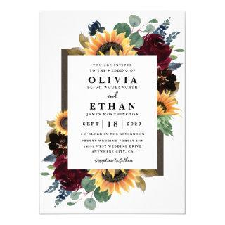 Sunflower and Roses Burgundy Red Navy Blue Wedding Invitation