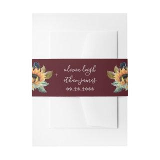 Sunflower and Roses Burgundy Red Navy Blue Wedding Invitation Belly Band