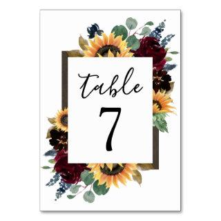 Sunflower and Roses Burgundy Red Navy Blue Wedding Table Number