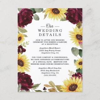 Sunflower and Roses Burgundy Red Rustic Wedding Enclosure Card