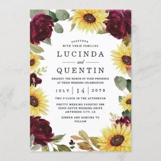 Sunflower and Roses Burgundy Red Rustic Wedding Invitations